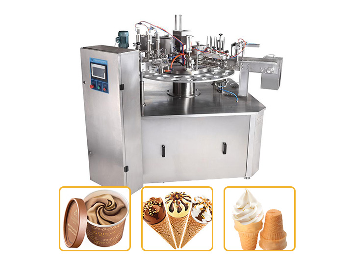 Rotary ice cream cone and cup filling machine
