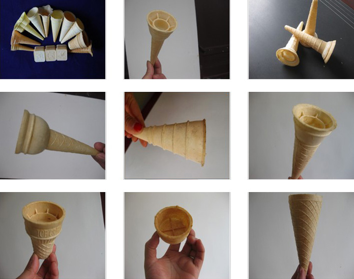 various wafer cone shapes